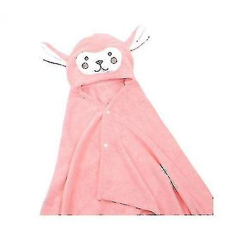 Coral Fleece Children's Cape Hooded Bath Towel Soft And Comfortable Baby Quilt Blanketpink