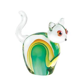 Accent Plus Art Glass Figurine - Green and Yellow Cat, Pack of 1