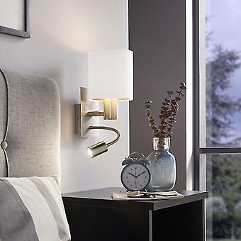 eglo pasteri vegglampe med hvit og kobber skygge og LED-leser