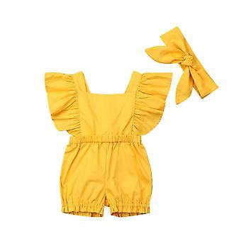 Neugeborenes Mädchen Kleidung Rüschen Strampler Jumpsuit mit Stirnband (Gelb)