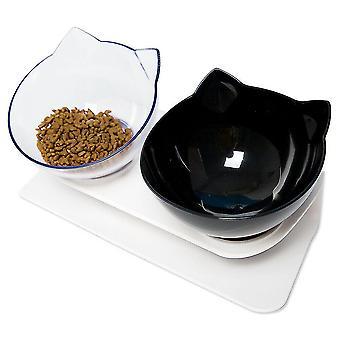 קערת מזון ללא החלקה עם קערת מים כלב חתול לעמוד האכלה חמה