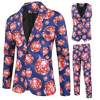 מייל לגברים חליפה בעלת שלושה חלקים עם פתית שלג והדפסת פנס (סינגל ווסט + אפוד + מכנסיים)