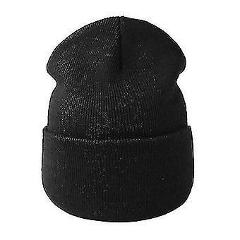Winter Knitted Autumn Hat, Women Warm Bonnet Capblack