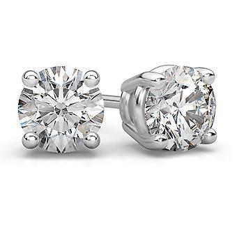 0,75 Karat runde Diamanten Ohrstecker 14K White Gold