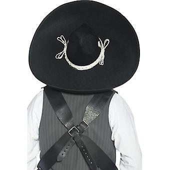 Authentieke Mexicaanse bandieten Sombrero zwart