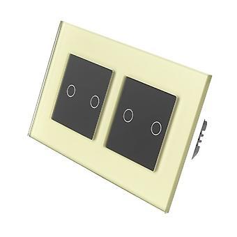 Я LumoS золото стекла Двойная рамка 4 Gang 1 способ удаленного WIFI / 4G сенсорный LED выключатель черные вставки