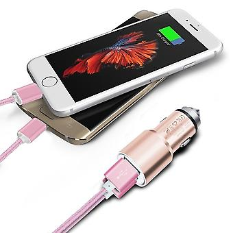 (Rose Gold) Dual Port Aluminium Car Charger Adaptor (3.1A/24W) & 2 x 1 Meter Micro-USB Data Cable For Archos Sense 55S