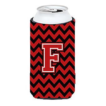 Letter F Chevron Black and Red   Tall Boy Beverage Insulator Hugger