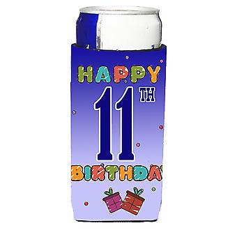 Happy 11th Birthday Ultra Beverage Insulators for slim cans