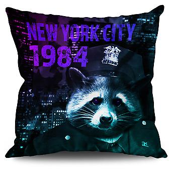 NY Racoon Officer Animal Linen Cushion 30cm x 30cm | Wellcoda