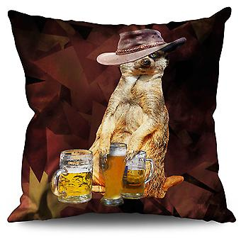 Drunk Animal Beer Linen Cushion 30cm x 30cm | Wellcoda