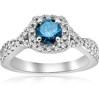 1ct Blue Diamond Engagement Ring 14K White Gold