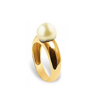 Kvinnors ring Jonc pärla kultur av guld och gult guld 375/1000