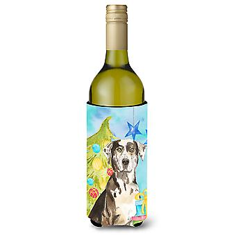 Christmas Tree Catahoula Leopard Dog Wine Bottle Beverge Insulator Hugger