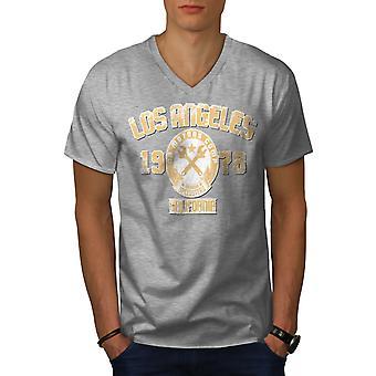 Los Angeles California Men GreyV-Neck T-shirt | Wellcoda