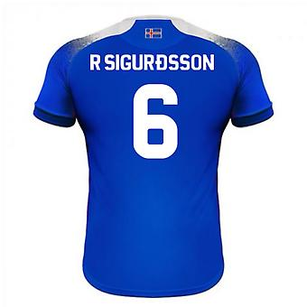 2018-2019 Islanti koti Errea jalkapallopaita (R Sigurdsson 6)