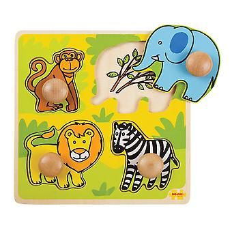 Bigjigs Toys My First Wooden Peg Puzzle (Safari) Chunky Jigsaw Educational