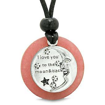 Ich liebe dich bis zum Mond und zurück Magie viel Glück Medaillon Amulett Rosa Quarz verstellbare Halskette