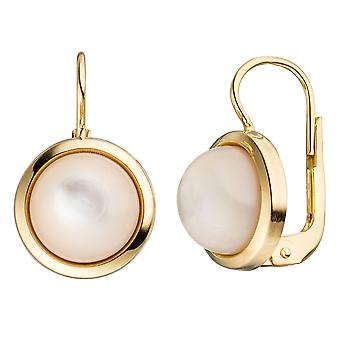 Mother of Pearl round boutons 333 Gold Yellow Gold 2 mother of Pearl stones earrings