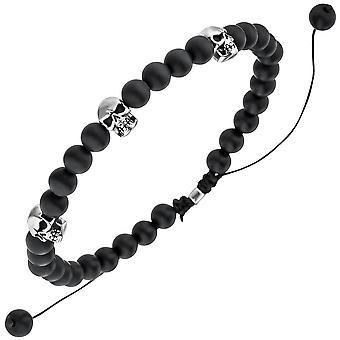 Armband Totenkopf Onyx Perlen schwarz 21,5 cm Onyxarmband Zugarmband