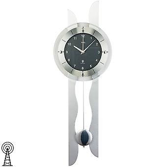 Radio controlled wall clock radio wall clock with pendulum wooden rear wall silver mineral glass