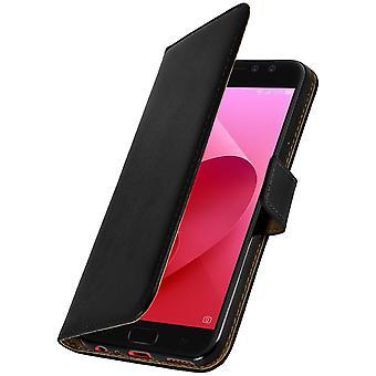 Flip wallet case, lederen cover voor Asus Zenfone 4 Selfie Pro ZD552KL - zwart