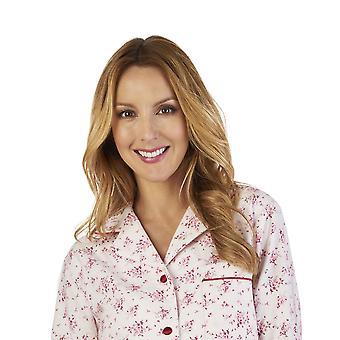 Slenderella PJ2213 Women's Luxury Flannel Floral Pajama Pyjama Set