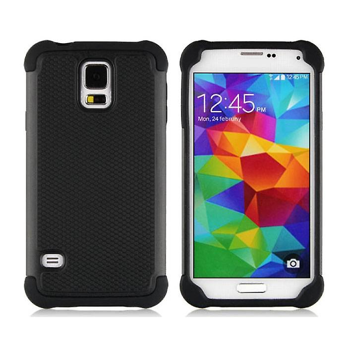 Stuff Certified ® For Samsung Galaxy S5 - Hybrid Armor Case Cover Cas Silicone TPU Case Black
