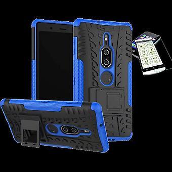Voor Sony Xperia XZ2 premie hybrid case 2 stuk blauwe zak geval + getemperd glas nieuw