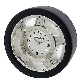 Cadeau produits course pneumatique Mini horloge - argent/noir
