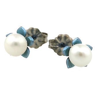 Ti2 titaani pieni kukka ja helmi korvakorut - valkoinen