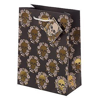 Attitude Clothing Medium Metallic Skulls & Roses Gift Bag