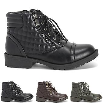 Womens Zip Outside Pocket Winter Combat Military Fashion Army Ankle Boot UK 3-10