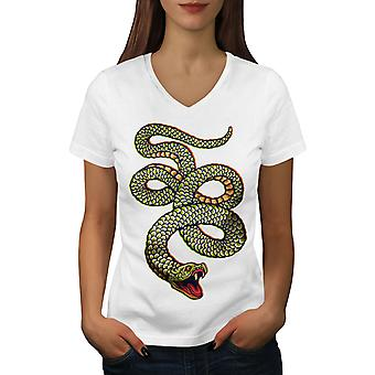Cobra Snake Animal Women WhiteV-Neck T-shirt | Wellcoda