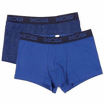 HOM Boxerlines Boxer Brief 2-Pack, Blue/Navy Print, Large