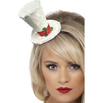 Boże Narodzenie biały Top Hat pałąk.  Jeden rozmiar