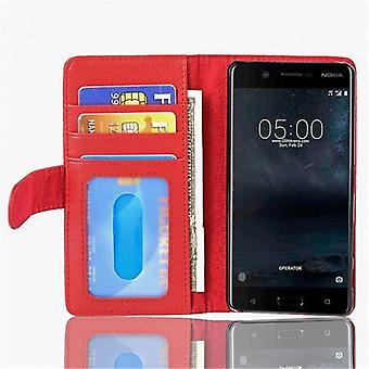 Cadorabo Hülle für Nokia 5 2017 Case Cover - Handyhülle mit Magnetverschluss und 3 Kartenfächern – Case Cover Schutzhülle Etui Tasche Book Klapp Style