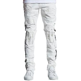 Embellish Bolt Standard Denim Jeans in White