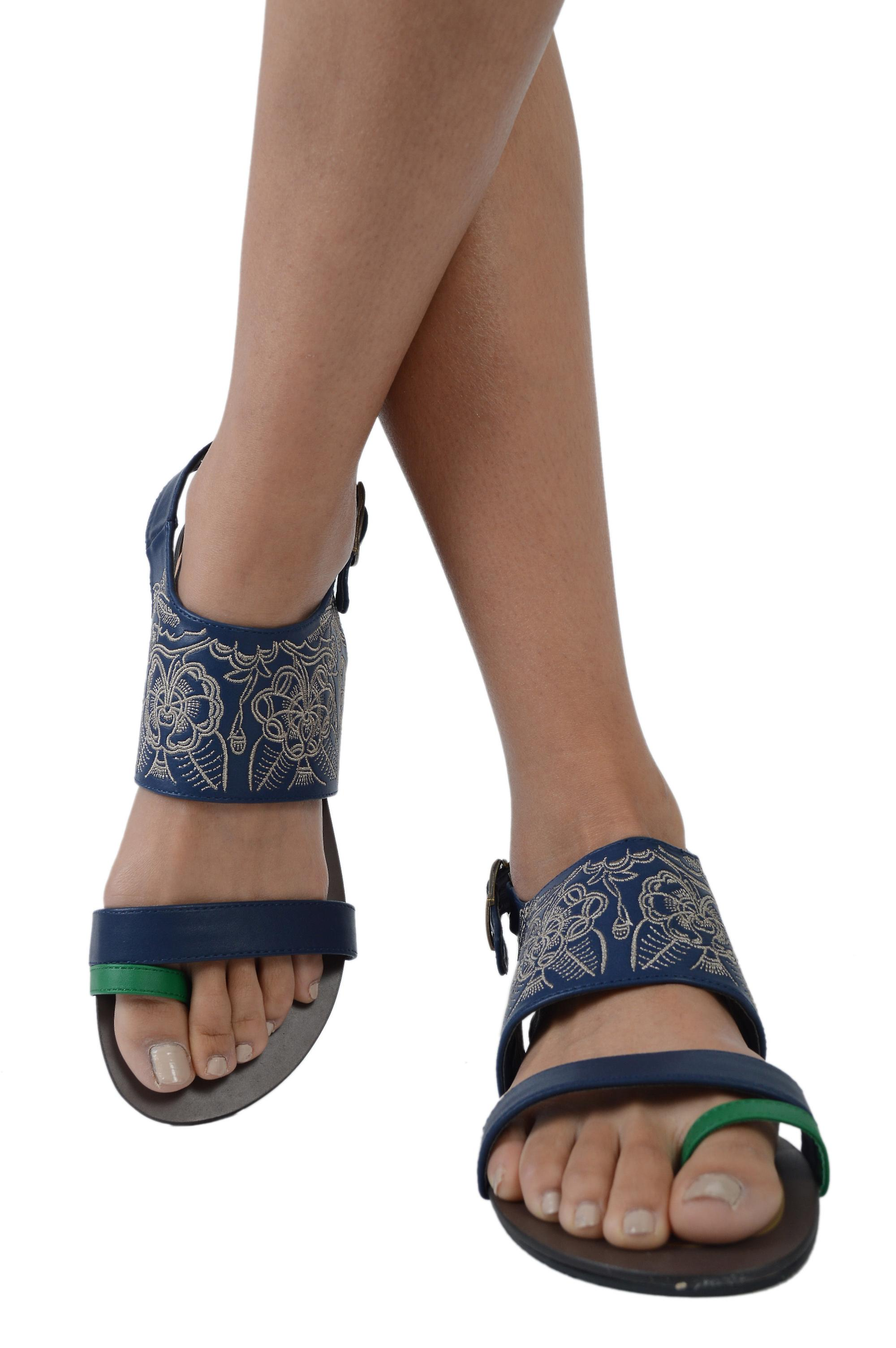 LMS Blue Leather Sandals With Stitching And Green Toe Strap