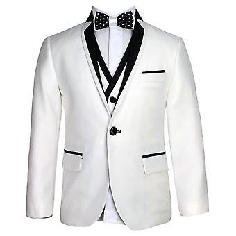 SIRRI exclusieve wit & zwart enkele knop jongens pak
