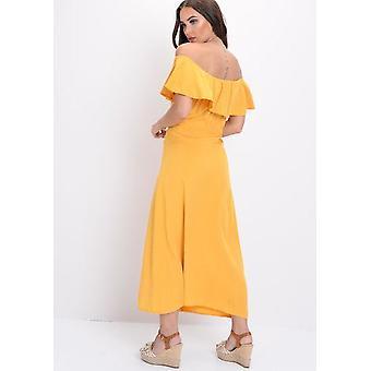 Frilled Bardot knappen gjennom linjen Maxi kjole gul