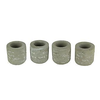 Цементная серая тиснением рыбы Tealight Свеча Держатели набор из 4