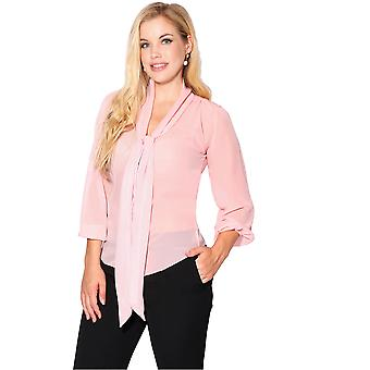 Krisp krisp mulheres ver através chiffon blusa senhoras amarrar manga comprida transparente top