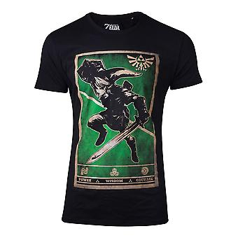 De legende van Zelda T-shirt propaganda link Triforce mens medium zwart