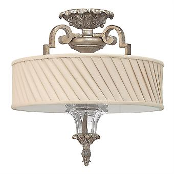 Elstead-3 ljus semi Flush tak ljus silver Leaf-HK/KINGSLEY/SF