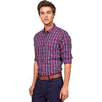 Premier Mens Sidehill Check Cotton Long Sleeve Casual Shirt