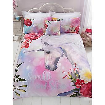 Funkeln Einhorn Bettbezug und Kissenbezug Set