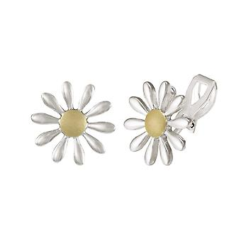 Eternal Collection Felicia Daisy Silver Tone Stud Clip On Earrings