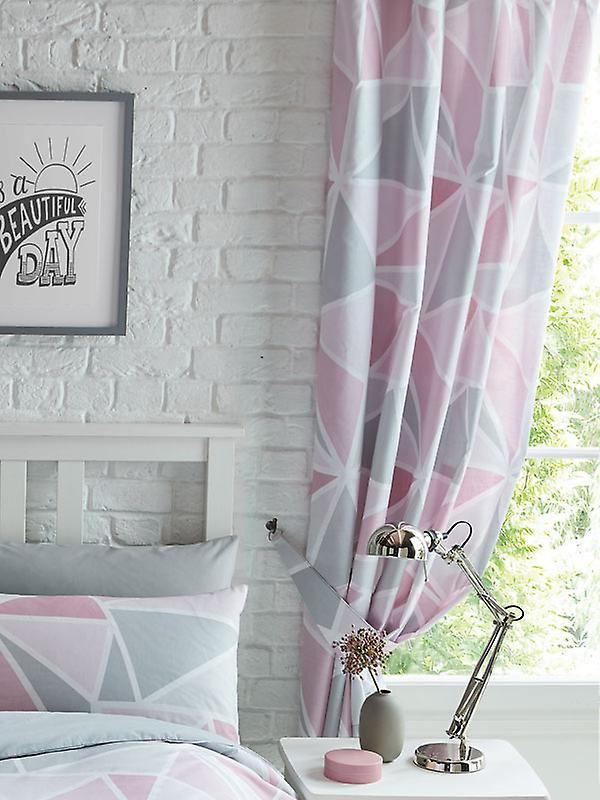 Metro Geometric Triangle Lined Curtains - Pink / Grey