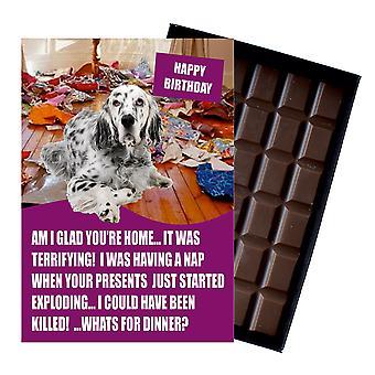 Inglés Setter divertido cumpleaños regalos para el amante del perro en caja tarjeta de felicitación de chocolate presente